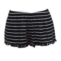 Flounce Bottom Black And White Horizontal Striped Shorts , Women'S Low Rise Trousers