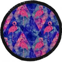 Buy cheap Grus Japonensis Round Beach Towel Printed Black Fringe And Vivid Color from wholesalers