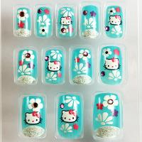 Buy cheap 3D Acrylic colorful Fake Nails Art Tips with Glue Great for Party from wholesalers
