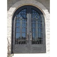China Arched double door wrought iron entry doors famous design OEM door Thermal break workable on sale