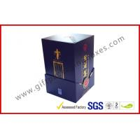 Buy cheap Paper Wine Bottle Gift Box With Golden Embossed Text / Rigid White Wine Box from wholesalers