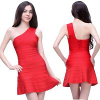Buy cheap 2014 one shoulder ruched red dress maid of honor dress bandage dress from wholesalers