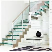 Buy cheap Straight staircase With stainless steel railing and glass steps from wholesalers