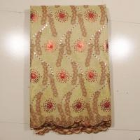 Buy cheap Swiss Metallic Net Wedding Gown Lace Fabric , Gold Wine from wholesalers