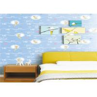 Buy cheap White Cartoon Kids Bedroom Wallpaper Light Blue Embossed Vinyl Wallpaper from wholesalers