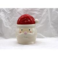 China Sweet Treats Ceramic Christmas Cookie Jar Dolomite Red / White Food Container on sale