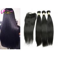 Long Silky Straight Peruvian Human Hair Weave With Closure For Black Women