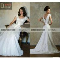 Buy cheap New Arrival Elegant A-line V-neck Lace Sweep Train wedding dresses in wedding dresses from wholesalers