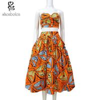 Buy cheap Crop Top African Print Two Piece Dresses Suits Set Multi Color Customized Size from wholesalers