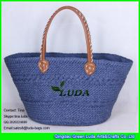 Buy cheap LUDA handmade tote bags navy blue pu leather handles paper straw shopping bag from wholesalers