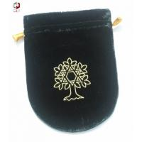 Buy cheap Embroidered Knitting Velvet Drawstring Bag Customized In White from wholesalers