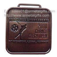 China Square metal sport events tournament medallion with engraved image, zinc alloy, on sale