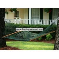 Forest Green Two Person Cool Polyester Rope Hammock  , Traditional Double Rope Hammock