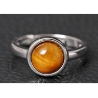 Buy cheap S925 Silver Personality Fashion Natural Tiger Eye Stone Ring Female Inlaid Gemstone Round Simple Temperament Open Ring from wholesalers