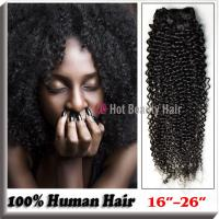 Buy cheap Natural Black 100 Indian Remy Hair Extensions 14 - 28 , Kinky Curly Human Hair from wholesalers