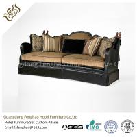 Buy cheap American Style Brown Leather Hotel Room Sofa Wood Frame With Seat Cushion Upholstered from wholesalers