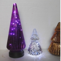 Buy cheap Handblown LED Holiday Glass Candle Holders Christmas Tree Pattern from wholesalers