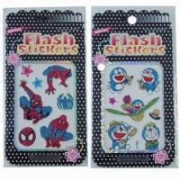 Buy cheap Cartoon glitter/shinning stickers, various designs and sizes are available, eco from wholesalers