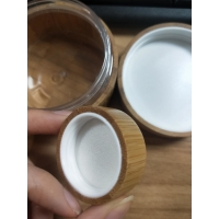 Buy cheap 5g 100g 50g bamboo cosmetic jars For Face / Eye Cream / Body Lotion product