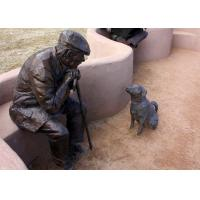 Buy cheap Old Man And Dog Bronze Statue For Home Garden Public Decoration from wholesalers