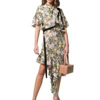Buy cheap Ruffle Sleeve Asymmetrical Hem Flounce Floral Printed Midi Shirt Dress with Button from wholesalers