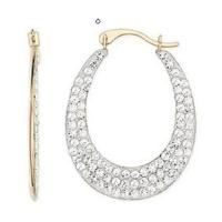 Buy cheap Earring(Gold & white crystals Reversible earring -EVIE0240) from wholesalers