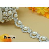 Buy cheap Custom Clear Rhinestone Chain Trim With Pearl For Clothes Decoration from wholesalers