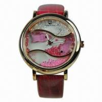 Buy cheap Jewelry Watch with Leather Strap, Mideast Crystal Stones, Alloy Case, Japan Movement from wholesalers