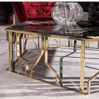 Buy cheap Modern metal furniture rose gold stainless steel table for living room from wholesalers