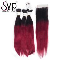Buy cheap 99J Straight Blonde Ombre Hair Extensions / Dark Root To Burgundy Crochet Two Tone Braiding Hair from wholesalers