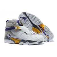 China Air Jordan 8 Retro Shoes White Gray Purple Yellow on sale