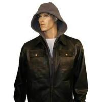 Buy cheap size 64 plus size black  mens leather bomber cheap jacket with hood product