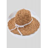 Buy cheap Big Brim Womens Straw Sun Hat / Floppy Straw Hat Coffee Khaki Solid Mesh from wholesalers