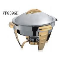 Buy cheap Gold Accented Round Soup Chafing Dish Buffet Set For Hotel / Restaurant from wholesalers