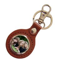 Buy cheap Plated Personalized Leather Keychain , Custom Design Keychains Souvenir from wholesalers