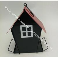 Buy cheap New design feeder,Germanic red and black water proof metal house with clear side bird feeder from wholesalers