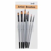 China Round Flat Tip Black Aluminum Ferrule #12 7pcs 	Artist Paint Brushes Set on sale