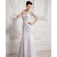 Buy cheap Girls Long Sleeve Big V Neck Wedding Dresses Appliques with cathedral train from wholesalers