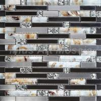Buy cheap Strip Gold Foil & Silver Stainless Steel & Square Mirror Crystal Mosaic Tile for Kitchen Backsplash (MV028) from wholesalers