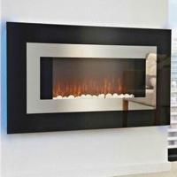 Buy cheap Electric Fireplace Heaters with black curved glass panel and blue backlight, lightness adjustable from wholesalers