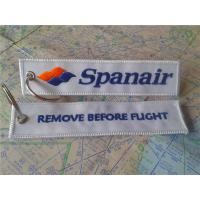 Buy cheap Spanair Remove Before Flight Keyring Custom Embroidered Fabric Keychain With Logo from wholesalers