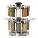 Buy cheap Custom Spinner Rack Display Stand Metal 2 Layer Black Jar Display Rack Rotating from wholesalers