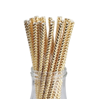 Buy cheap Chevron Foil Gold Bendable Paper Drinking Straws from wholesalers