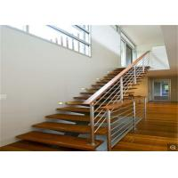 Buy cheap Frameless Glass Railing Standoff Wood Step Indoor Floating Straight Staircase from wholesalers