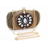 Buy cheap Vintage Retro Crystal Evening Clutch Bags Fashion Bead With Black Velvet from wholesalers
