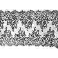 Buy cheap Black Scalloped Vintage Floral Eyelash Lace Trim Bridal Lace Fabric Nylon 20 By 3M from wholesalers