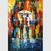 Buy cheap Framed Palette Knife Oil Painting On Canvas , Abstract Art Paintings Umbrella Girls from wholesalers