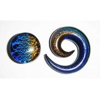 Buy cheap Blue Tapers Swirls Glass Helix Spiral Piercing Jewelry for Party from wholesalers