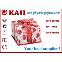 Buy cheap Eco Friendly Gift Packaging Boxes / Square Gift Box With Red Bow Ribbon from wholesalers