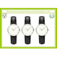 Buy cheap Black 20MM Band Tasteless Leather Strap Watch Durable For Men / Women from wholesalers